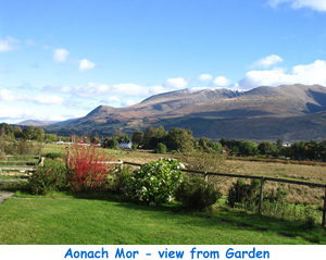 Views of Aonach Mor from garden at Lapwing Rise