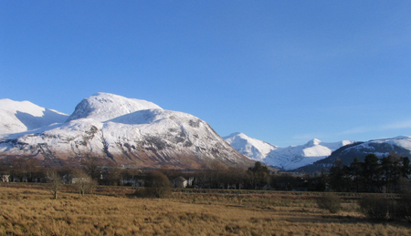 Easrly winter snow on Ben Nevis
